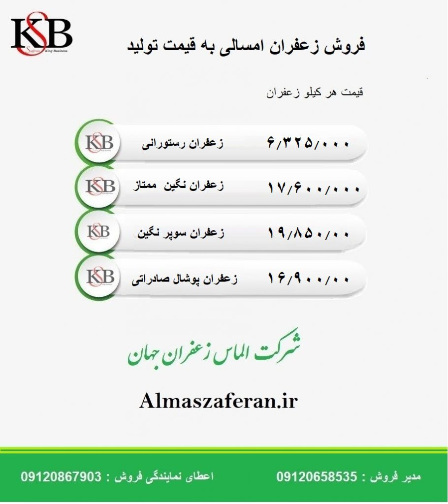 لیست قیمت روز زعفران کیلویی